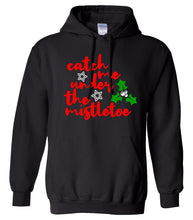Load image into Gallery viewer, black under the mistletoe unisex Christmas hooded sweatshirt