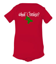 Load image into Gallery viewer, red what cookie baby Christmas onesie