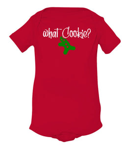 red what cookie baby Christmas onesie