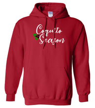 Load image into Gallery viewer, red coquito season Christmas hooded sweatshirt