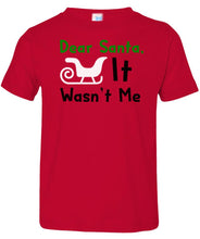 Load image into Gallery viewer, red dear Santa toddler Christmas t shirt