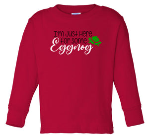 red eggnog long sleeve toddler Christmas t shirt