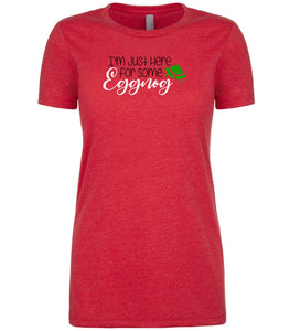 red eggnog Christmas T Shirt for Women