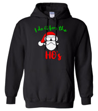 Load image into Gallery viewer, black Santa's ho's Christmas hooded sweatshirt