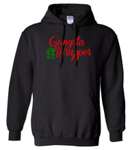 Load image into Gallery viewer, black gangsta wrapper Christmas hooded sweatshirt