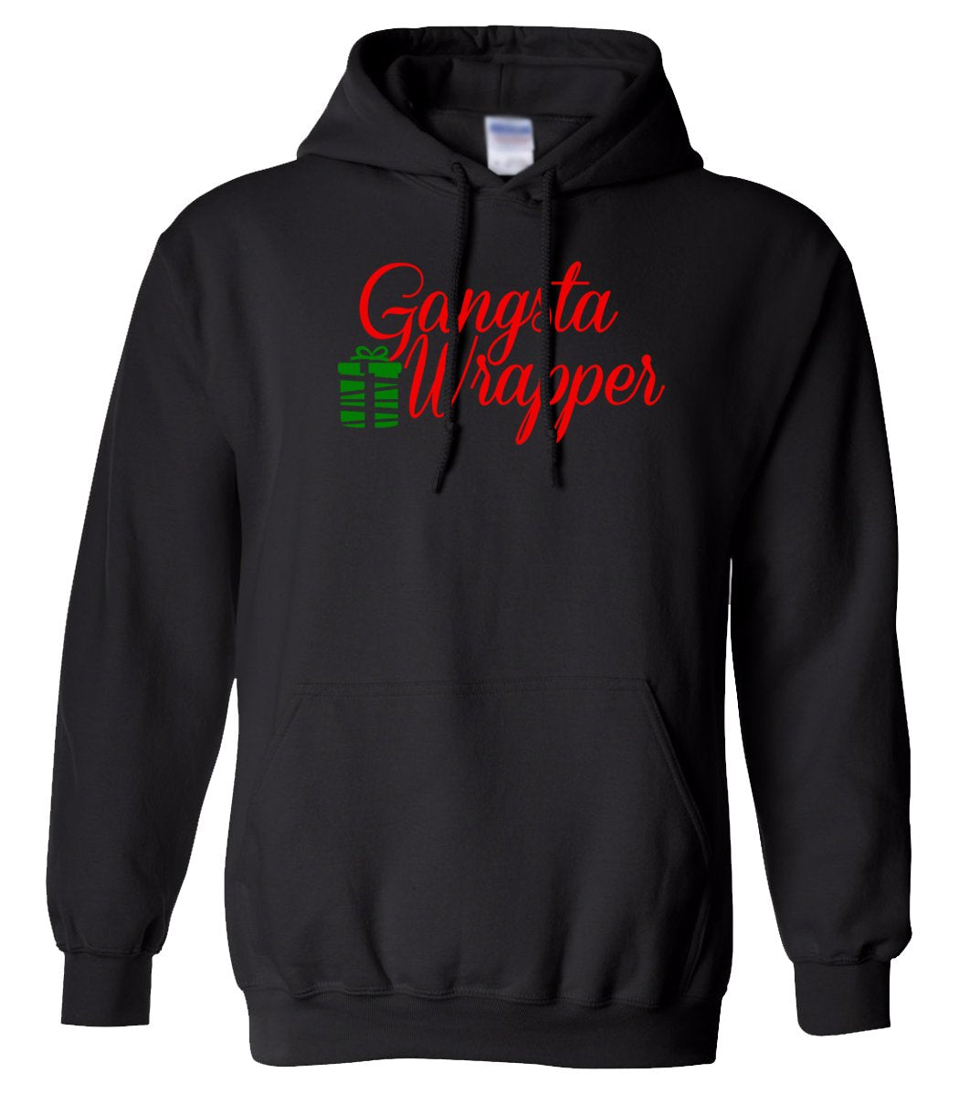 black gangsta wrapper Christmas hooded sweatshirt