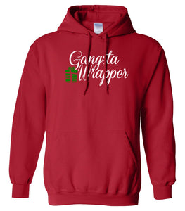 red gangsta wrapper Christmas hooded sweatshirt