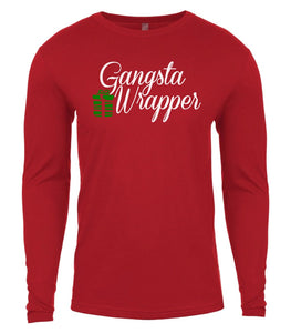 red gangsta wrapper Christmas shirt for Men