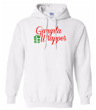 Load image into Gallery viewer, white gangsta wrapper Christmas hooded sweatshirt
