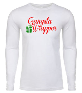 white gangsta wrapper Christmas shirt for Men