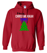 Load image into Gallery viewer, red merry Christmukkah hooded sweatshirt