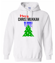Load image into Gallery viewer, white merry Christmukkah hooded sweatshirt