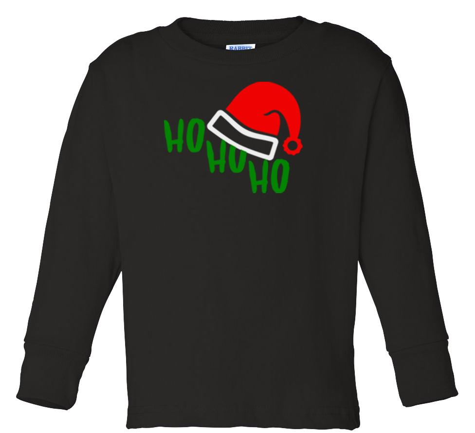 black ho ho ho long sleeve toddler Christmas t shirt
