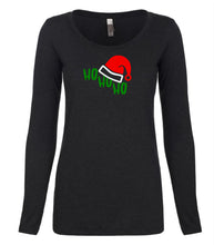 Load image into Gallery viewer, black ho ho ho long sleeve women's Christmas t shirt