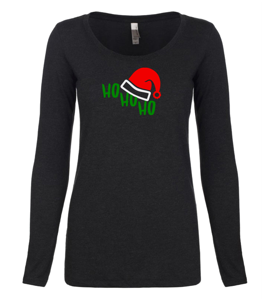 black ho ho ho long sleeve women's Christmas t shirt