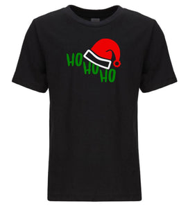 black ho ho ho youth kids Christmas t shirt