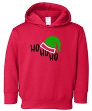 Load image into Gallery viewer, red ho ho ho hooded toddler Christmas sweatshirt
