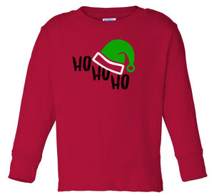 red ho ho ho long sleeve toddler Christmas t shirt