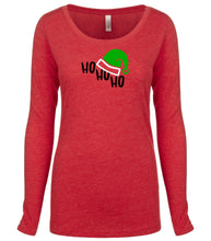 Load image into Gallery viewer, red ho ho ho long sleeve women's Christmas t shirt
