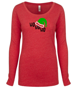 red ho ho ho long sleeve women's Christmas t shirt