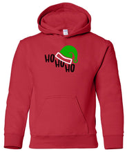 Load image into Gallery viewer, red ho ho ho youth kids hooded Christmas sweatshirt hoodie