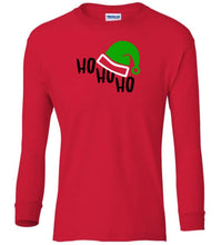 Load image into Gallery viewer, red ho ho ho Christmas long sleeve t shirt