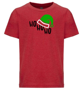 red ho ho ho youth kids Christmas t shirt