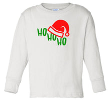 Load image into Gallery viewer, white ho ho ho long sleeve toddler Christmas t shirt