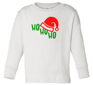 white ho ho ho long sleeve toddler Christmas t shirt