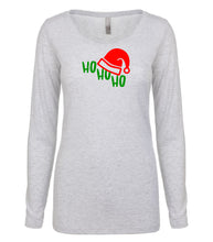 Load image into Gallery viewer, white ho ho ho long sleeve women's Christmas t shirt