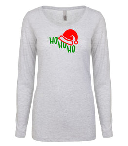 white ho ho ho long sleeve women's Christmas t shirt