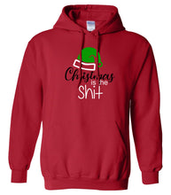 Load image into Gallery viewer, red Christmas is the shit hooded sweatshirt