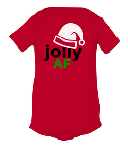 red jolly AF baby Christmas onesie