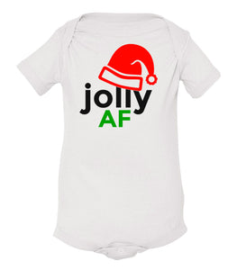 white jolly AF baby Christmas onesie