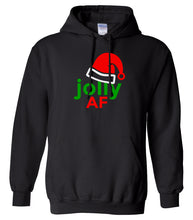 Load image into Gallery viewer, black jolly AF Christmas hooded sweatshirt