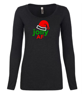 black jolly AF long sleeve women's Christmas t shirt