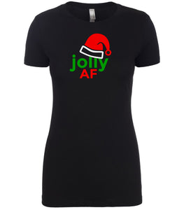 black jolly AF Christmas T Shirt for Women