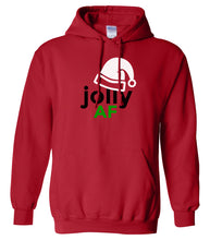 Load image into Gallery viewer, red jolly AF Christmas hooded sweatshirt