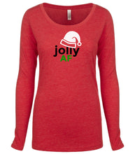 Load image into Gallery viewer, red jolly AF long sleeve women's Christmas t shirt