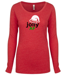 red jolly AF long sleeve women's Christmas t shirt