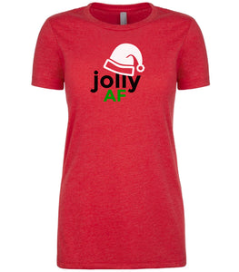 red jolly AF Christmas T Shirt for Women