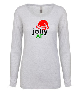 white jolly AF long sleeve women's Christmas t shirt