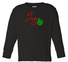 Load image into Gallery viewer, black joy long sleeve toddler Christmas t shirt