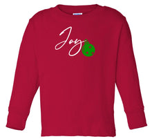 Load image into Gallery viewer, red joy long sleeve toddler Christmas t shirt