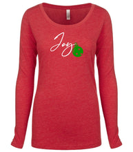 Load image into Gallery viewer, red joy long sleeve women's Christmas t shirt