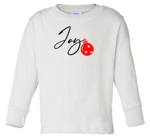 Load image into Gallery viewer, white joy long sleeve toddler Christmas t shirt
