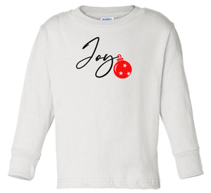 white joy long sleeve toddler Christmas t shirt