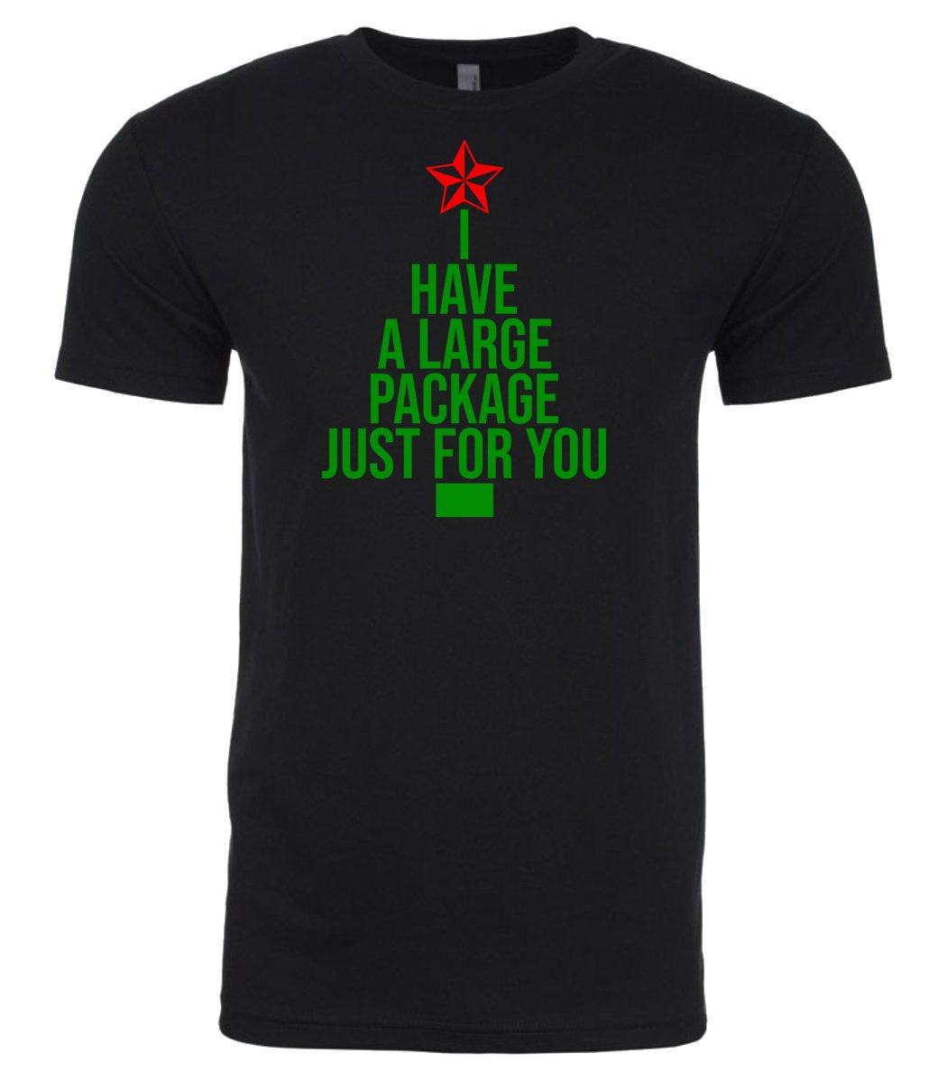 black large package Christmas t shirt for men