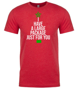 red large package Christmas t shirt for men