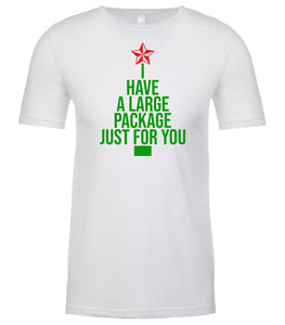 white large package Christmas t shirt for men